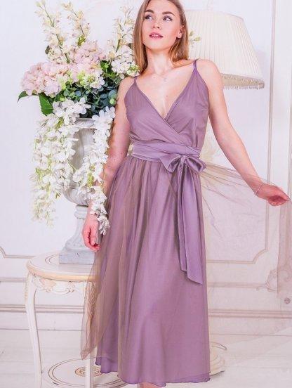 Нарядное лиловое вечернее платье с воздушной фатиновой юбкой, фото 1