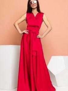Нарядное однотонное шелковое платье без рукавов