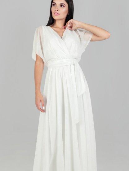 Нарядное шифоновое белое платье большого размера в пол, фото 1