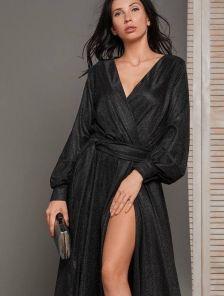 Вечернее черное длинное платье на длинный рукав