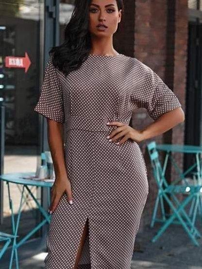 Коричневое платье в горошек, фото 1