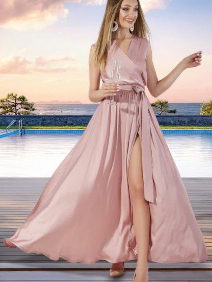 Длинное пудрового платье на запах, фото 1
