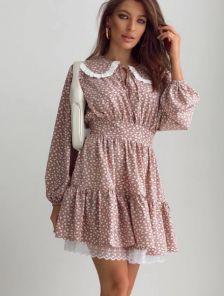 Короткое платье на длинный рукав с оборкой и воротничком