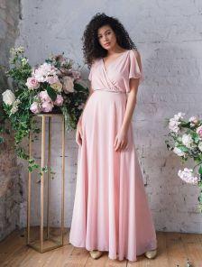 Нарядное шифоновое розовое платье большого размера в пол