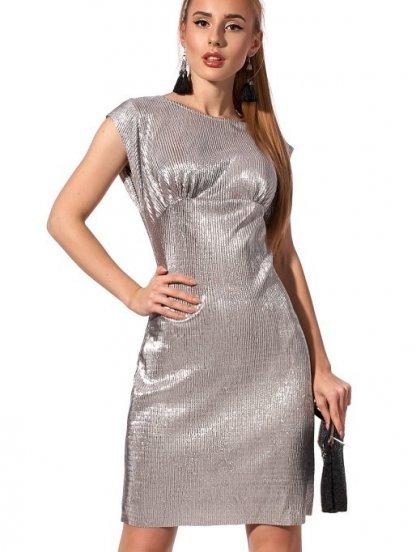 Вечернее короткое платье жатка без рукава серебристого цвета, фото 1