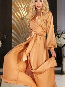 Золотое вечернее длинное платье на запах с длинным рукавом