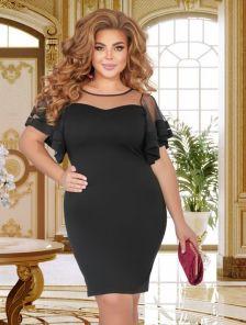 Черное короткое облегающее платье