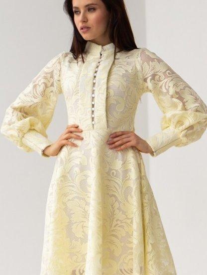 Короткое кружевное платье с обьемными рукавчиками, фото 1
