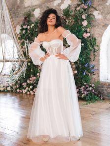 Вечернее белое корсетное платье со сьемными воздушными рукавами