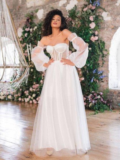 Вечернее белое корсетное платье со сьемными воздушными рукавами, фото 1