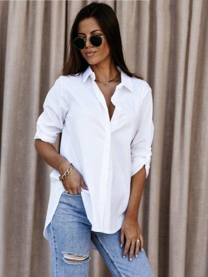 Белая женская рубашка over-size, фото 1