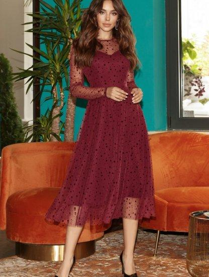 Нарядное платье в горошек с прозрачным рукавом цвета марсала, фото 1