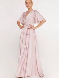 Пудровое нарядное шелковое вечернее платье в пол на короткий рукав