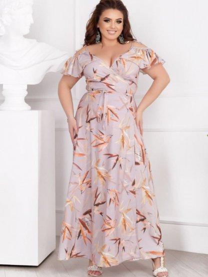 Длинное летнее бежевое платье на бретелях и с листьями, фото 1
