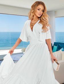 Длинное белое летнее нарядное платье с коротким рукавом, юбкой-солнце в пол. с оборкой