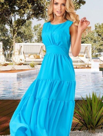 Летнее шифоновое платье с оборками, фото 1