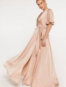Бежевое вечернее шелковое платье в пол на короткий рукав