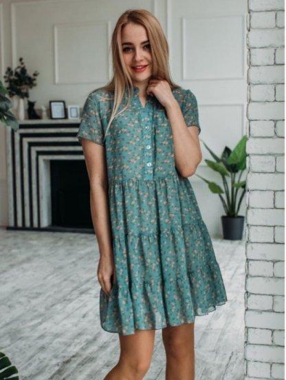 Легкое летнее короткое шифоновое платье с оборками, с коротким рукавом, фото 1