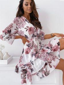 Летнее шифоновое платье в цветы с рюшами