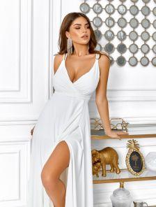 Летнее белое платье с пояском на бретельках
