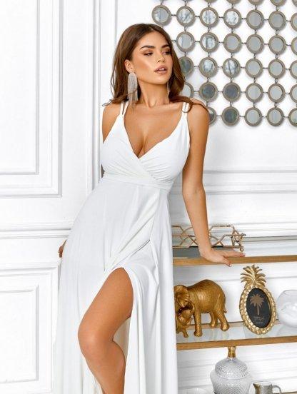 Летнее белое платье с пояском на бретельках, фото 1