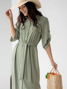 Летнее стильное платье-рубашка цвета хаки длинное