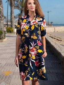 Летнее платье-туника до колен с цветочным рисунком