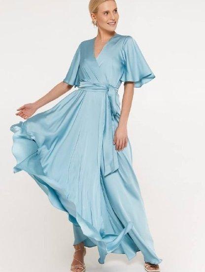 Нарядное шелковое голубое платье в пол с разрезом, фото 1