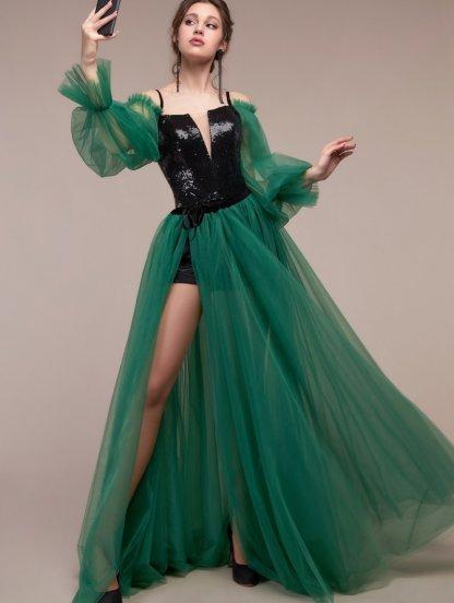 Корсетное вечернее платье с воздушной прозрачной юбкой, фото 1
