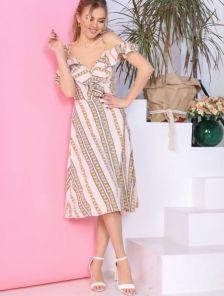 Светлое летнее платье миди большого размера