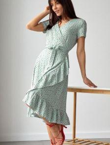 Мятное платье на запах с коротким рукавом