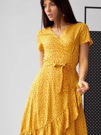 Желтое платье на запах с коротким рукавом, фото 1
