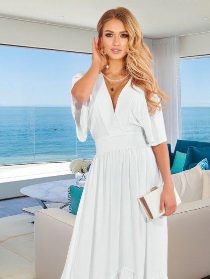 Длинное белое летнее нарядное платье с коротким рукавом, юбкой-солнце в пол. с оборкой, фото 1