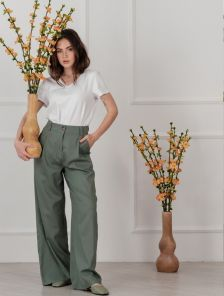 Льняные женские расклешенные брюки с высокой талией
