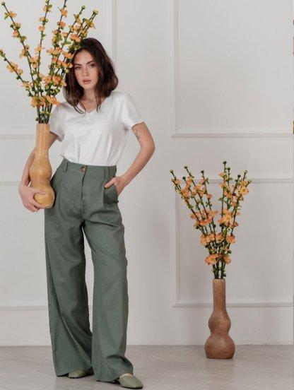 Льняные женские расклешенные брюки с высокой талией, фото 1