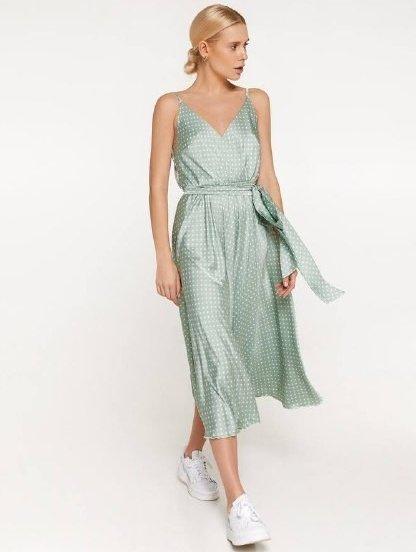 Шелковое легкое платье миди длины на бретелях на лето, фото 1