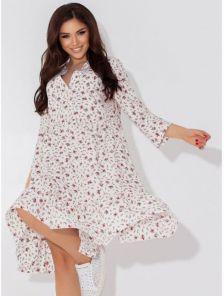 Летнее молочное платье-сарафан до колен