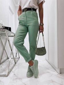 Светлые широкие женские брюки с высокой талией