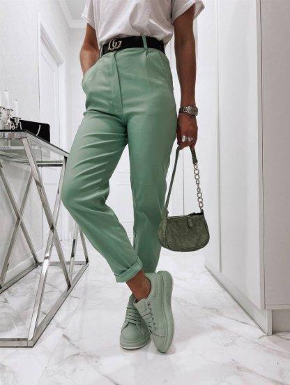 Светлые широкие женские брюки с высокой талией, фото 1