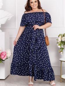 Летнее макси платье-сарафан с открытыми плечиками, на запах, с юбкой-солнце