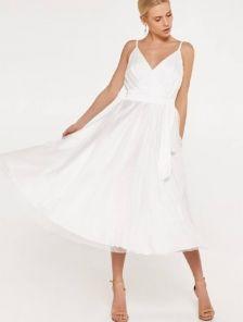 Праздничное летнее платье-миди на тонких бретелях, юбка-солнце, сетка в горошек