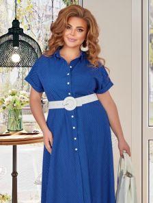Трикотажное летнее платье-сафари в большом размере