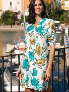 Летнее платье-туника до колен с цветочным принтом