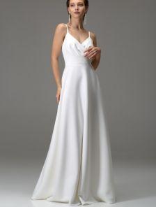 Белое длинное платье с вырезом на спине на роспись и свадьбу