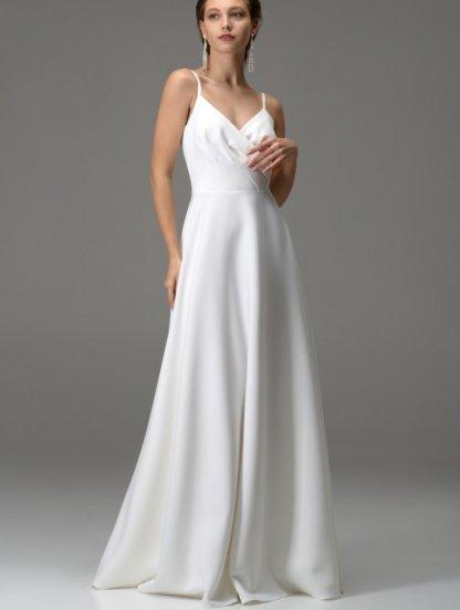 Белое длинное платье с вырезом на спине, фото 1