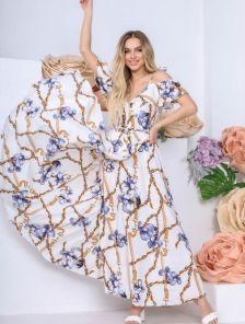 Длинное летнее белое платье сарафан в пол