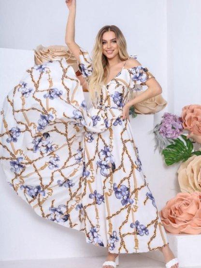Длинное летнее белое платье сарафан в пол, фото 1