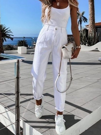Белые широкие женские брюки с высокой талией, фото 1