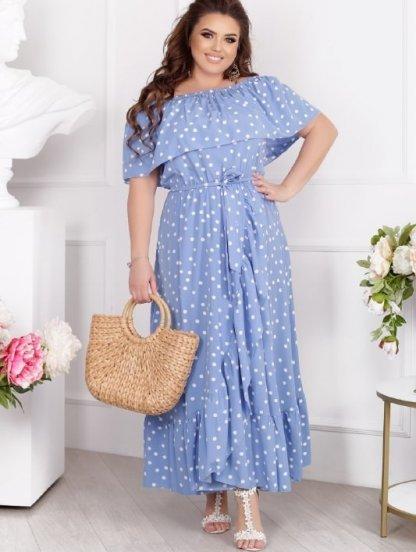 Летнее макси платье-сарафан с открытыми плечиками, на запах, с юбкой-солнце, фото 1