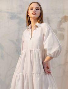 Летнее миди платье-рубашка с рукавом, оборками и воротом